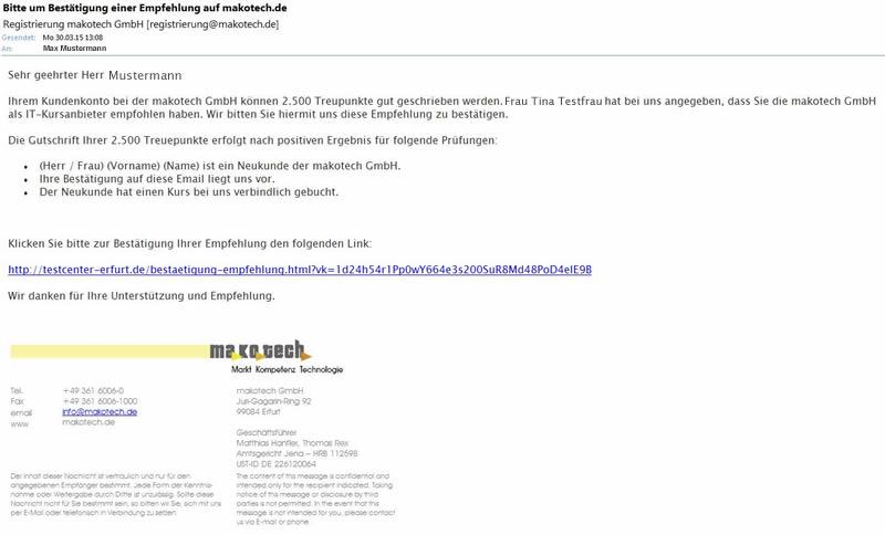 bestätigungs email